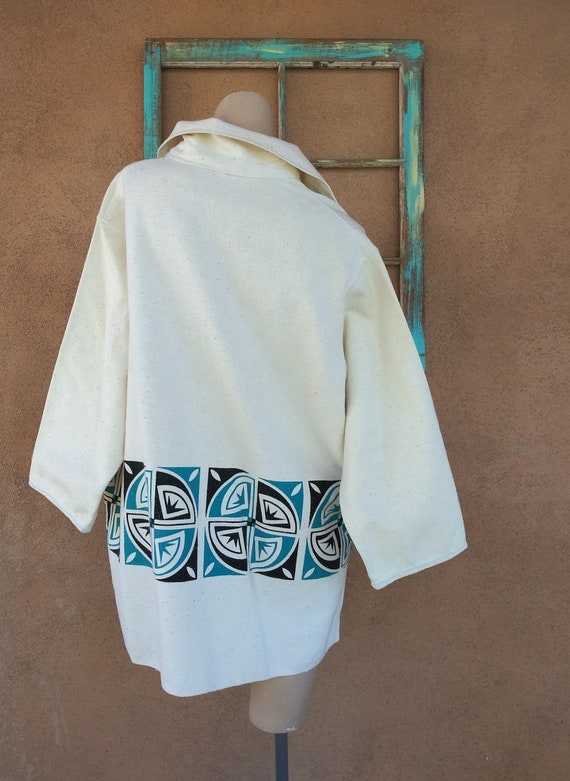 Vintage 1970s Mens Linen Tunic Shirt Native Ameri… - image 8