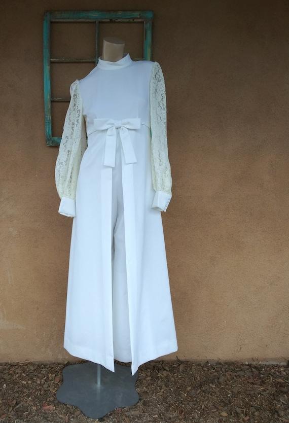 Vintage 1960s Mod Wedding Gown Jumpsuit Dress Sz S