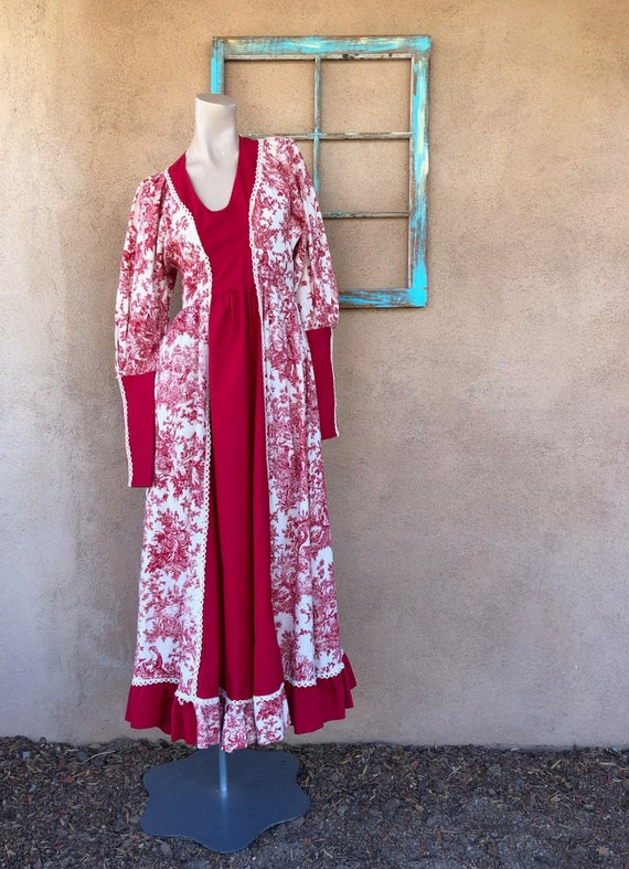 Vintage 1960s Red Toile Maxi Dress Gunne Sax Black