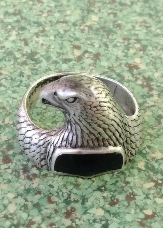 Vintage 1990s Mens Eagle Ring Sterling Silver Sz 8