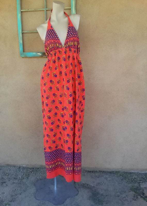 Vintage 1960s Maxi Halter Dress Batik Print B36