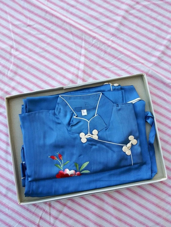 Vintage 1940s Silk Lounging Pajamas Hostess Lounge