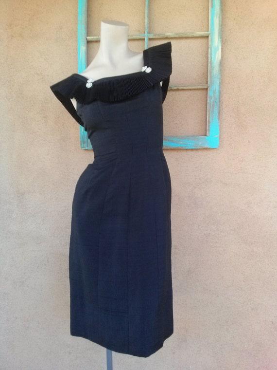 Vintage 1960s Black Silk Dress Suzy Perette B34 W2