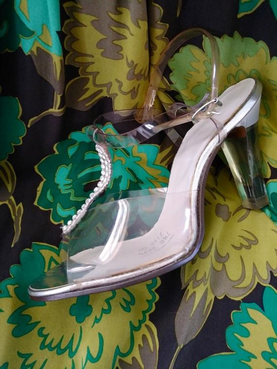 Vintage 1970s Lucite Shoes T Strap High Heels US7.