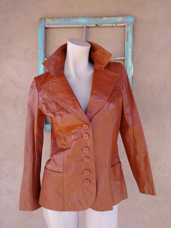 Vintage 1970s Brown Leather Leather Blazer Jacket