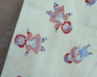 Vintage 1960s Flocked Cotton Fabric Raggedy Ann Andy Novelty Print Per Piece