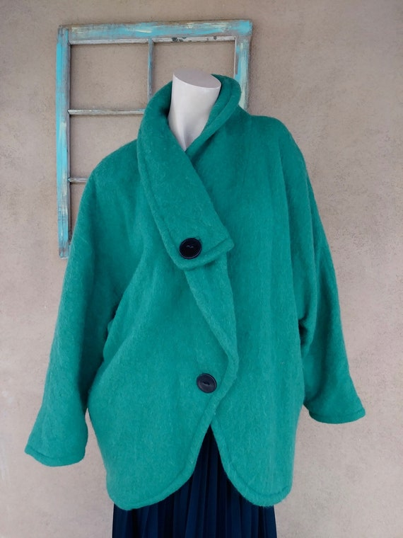 Vintage 1980s Wool Blanket Coat Emerald Green Sz M
