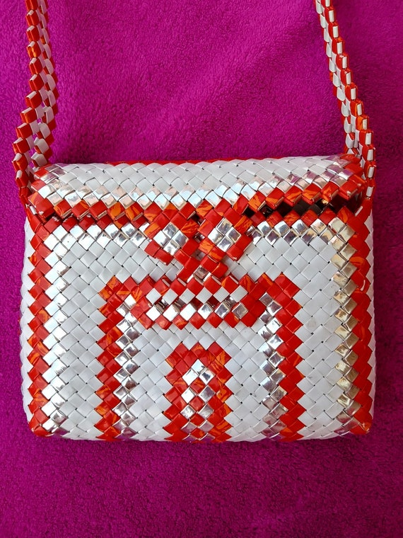 Vintage 1970s Tramp Art Purse Handbag Prison OOAK