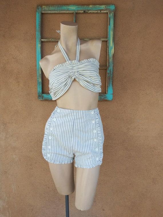 Vintage 1950s Catalina Playsuit Bikini Striped Sun