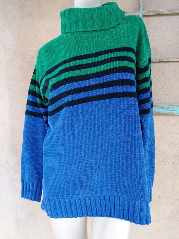 Vintage 1990s Chenille Sweater Striped Oversized U