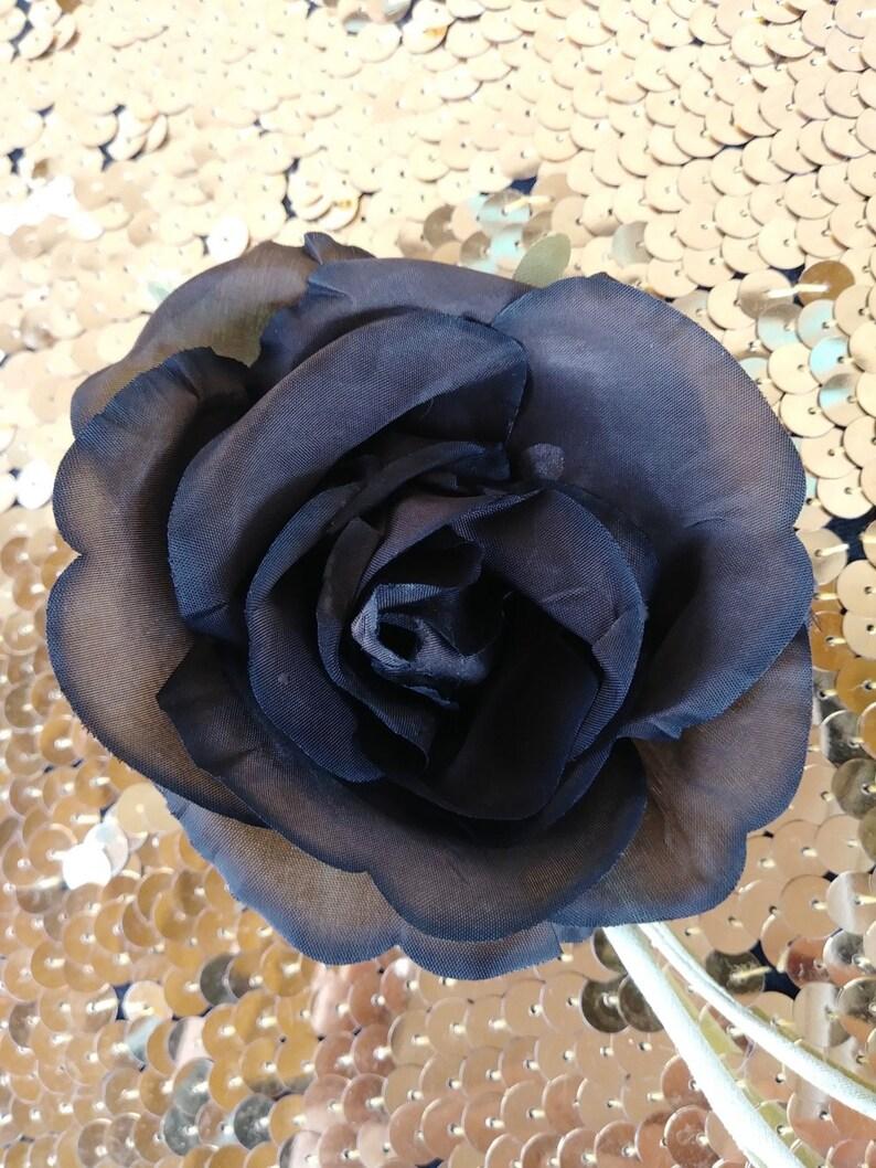f071d44e274 Vintage 1960s Silk Flower Black Rose Millinery Hat Supplies   Etsy