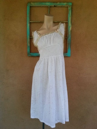 Vintage 1960s Nightgown Cotton Nightie Starburst Novelty Print Texasheen B34