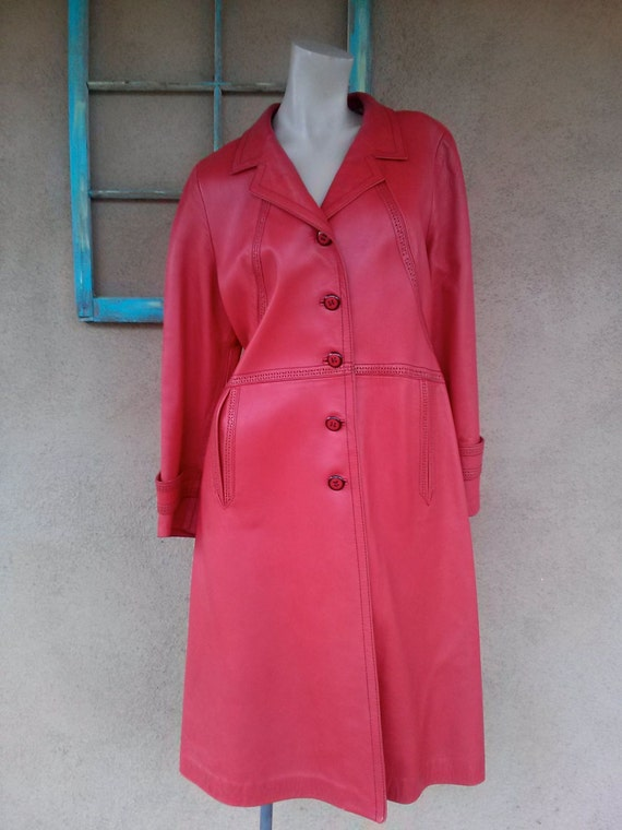 Vintage 1970s Red Leather Trench Coat Sz S M