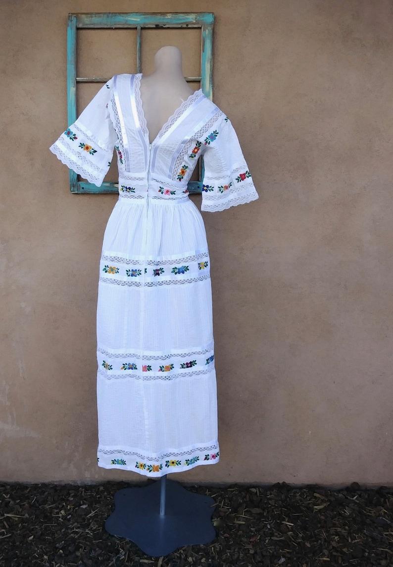Vintage 1970s Mexican Wedding Dress 70s Boho Maxi Bridesmaid