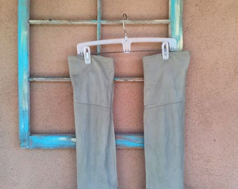 Vintage 1980s Boots Thigh High Slouch Moss Green Leather US 7M