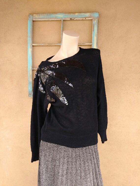 Vintage 1980s Black Sweater Sequin Shoulder Campus