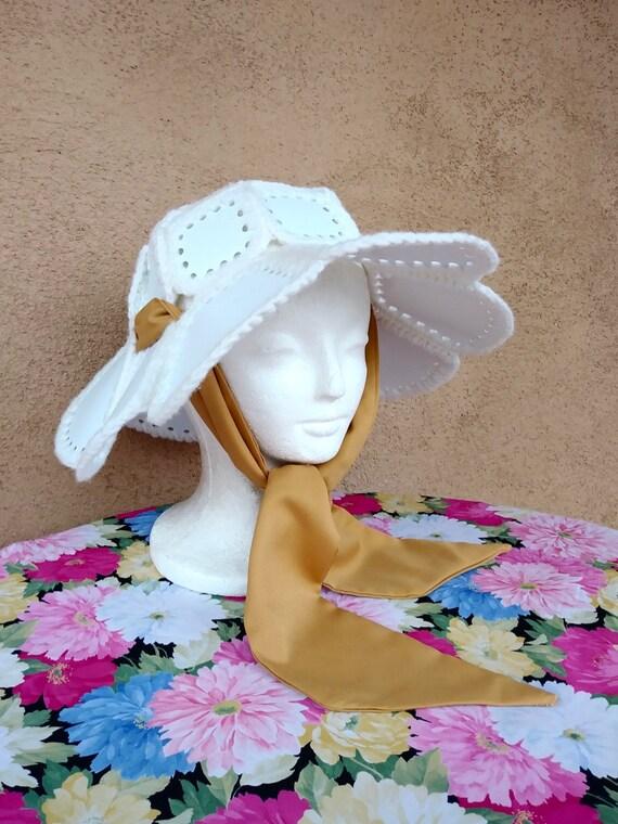 Vintage 1970s Floppy Hat Crochet Plastic Sash Tie