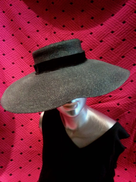 Vintage 1950s Black Straw Saucer Hat New Look Dior
