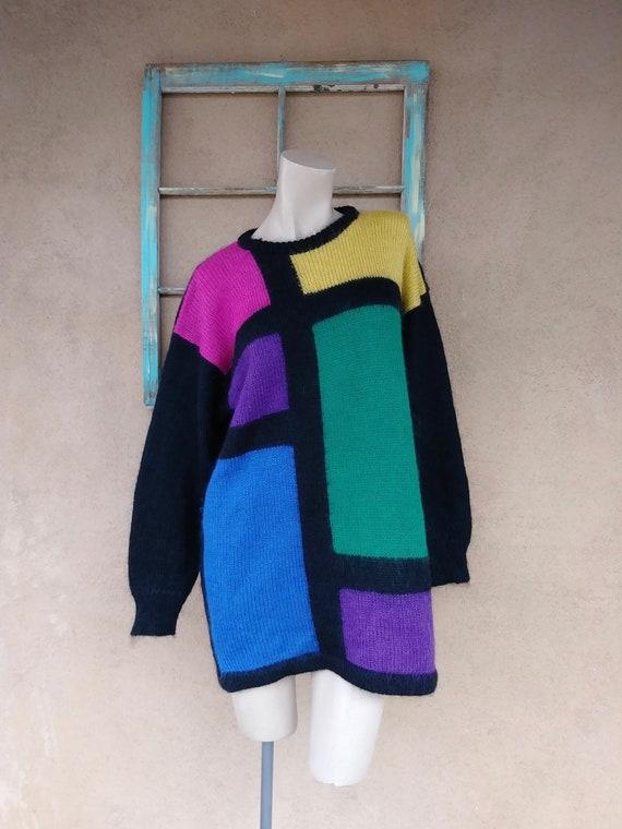 Vintage 1980s Color Block Sweater Dress Mohair Kni