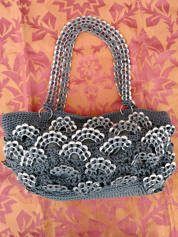 Vintage 1990s Pop Top Purse Gray Handbag OOAK
