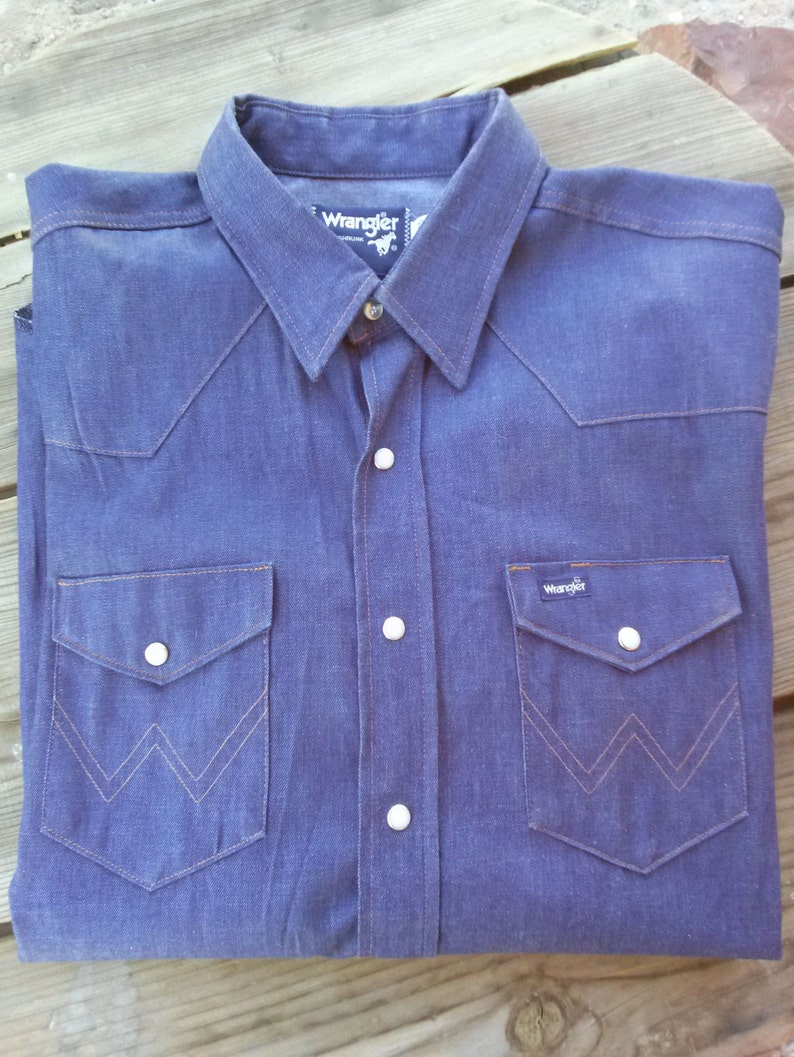 67f490b72d Vintage 1980s Denim Shirt Wrangler Western Work Shirt Mens X