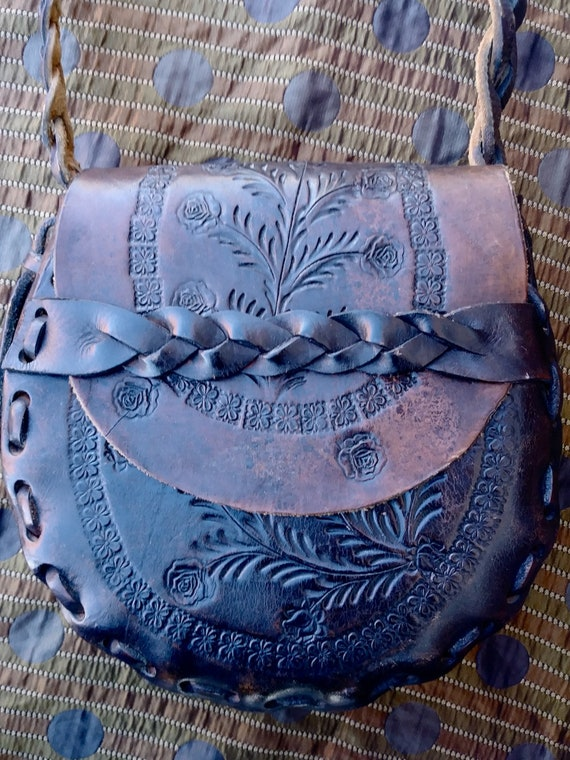 Vintage 1970s Tooled Leather Handbag Purse Boho Hi