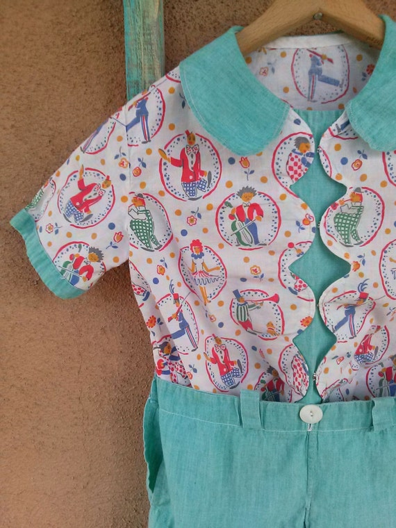Vintage 1940s Baby Boy Romper Suit MCM Novelty Pri