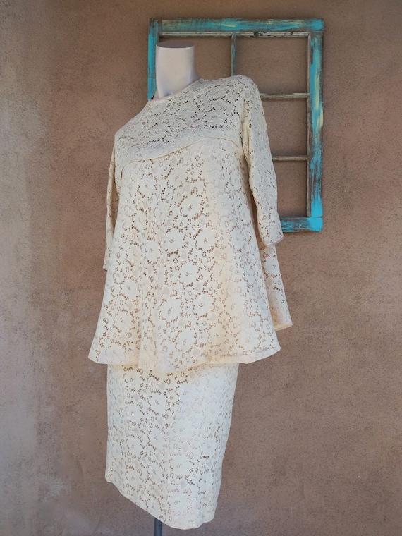 Vintage 1960s Maternity Dress Suit Lace Blouse Pen