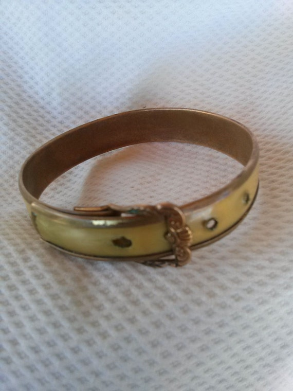 Vintage Victorian Buckle Bracelet Brass Celluloid