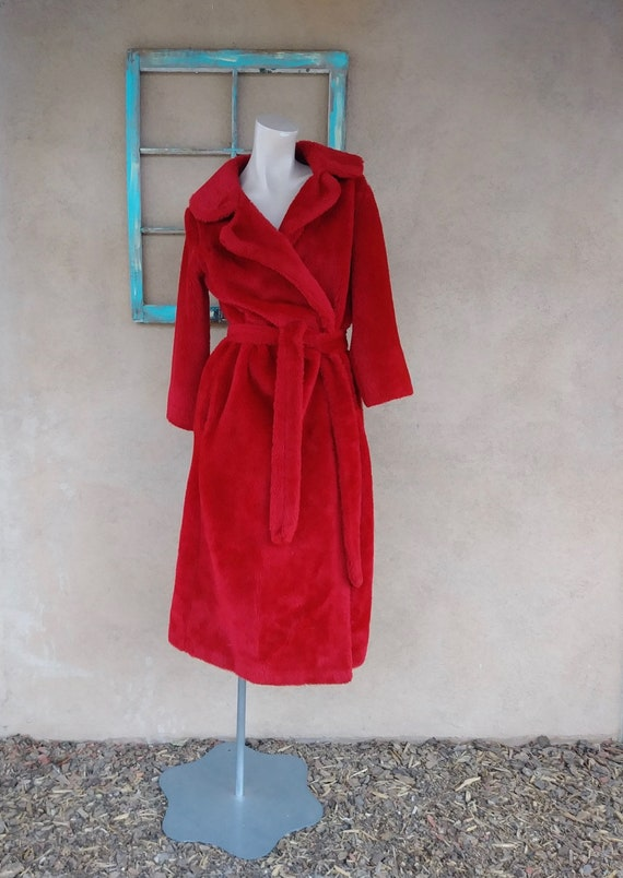 Vintage 1970s Fuzzy Robe Red Plush JC Penney Sz S