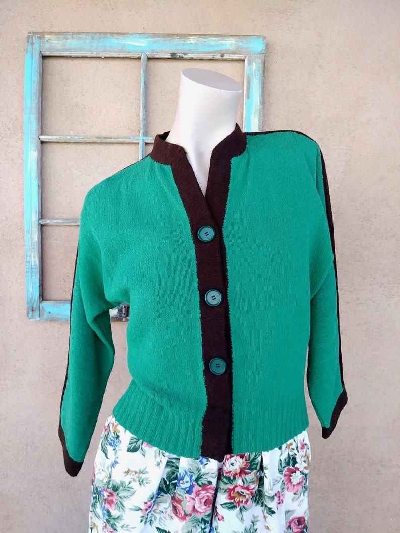 Vintage 1940s Boucle Sweater Green Sz S M L Up to B38