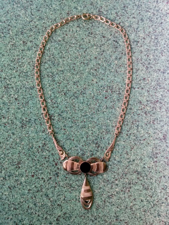 Vintage 1930s Victorian Revival Brass Necklace 15… - image 4