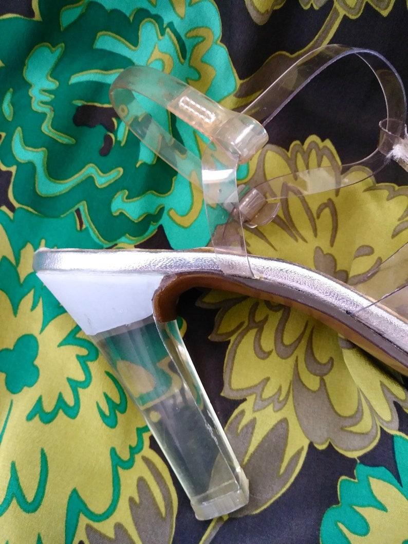 Vintage 1970s Disco Lucite Shoes T Strap High Heels US7.5 B