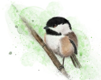 """As He Sits Patiently Waiting for Spring - 8"""" x 8"""" Giclee print"""