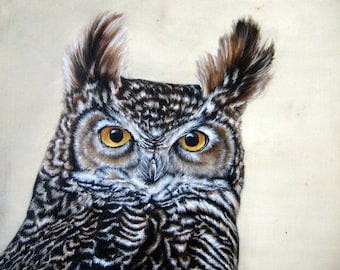 """Ever Watching - 8"""" x 10"""" original oil painting on wood"""
