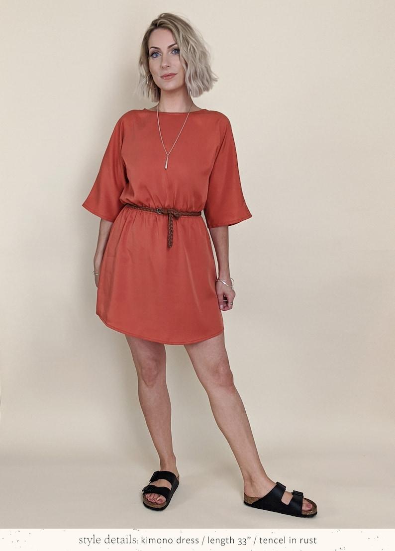 Kimono Kleid midi Länge elastische Taille tencel Damen   Etsy