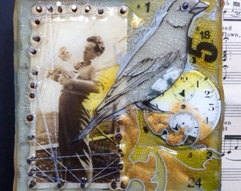 Quality Time mixed media painting