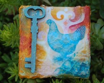 Key to the Henhouse mixed media art