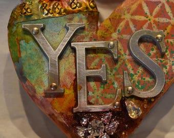 Mixed media YES heart