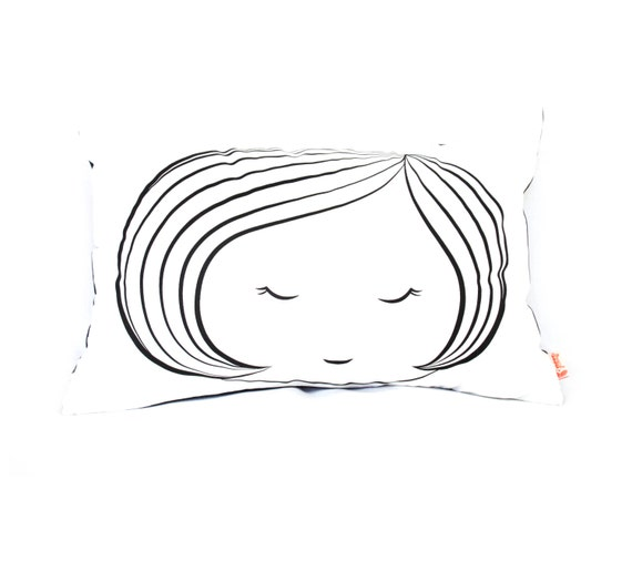 Black Print on White Cotton Girl Face Rectangle Pillow  7e63d05158