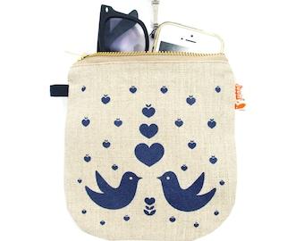 Navy Blue Print Lovebirds Linen Zipper Pouch