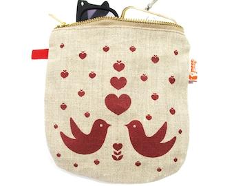 Red Print Lovebirds Linen Zipper Pouch