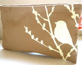 SALE Tan Bird on Cherry Blossom Pouch