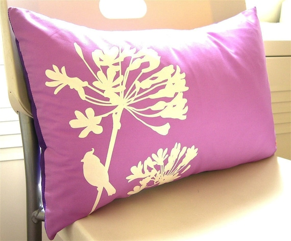 Limited Time SALE Orange Cardinal on Agapanthus Rectangle Pillow