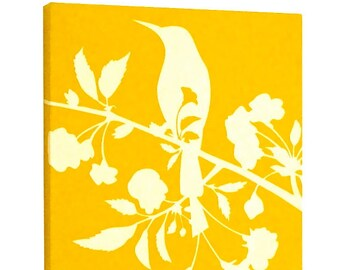 SALE Yellow Blooming Blossom Wall Art- Wall Decor- Art Print - Bird Wall Art