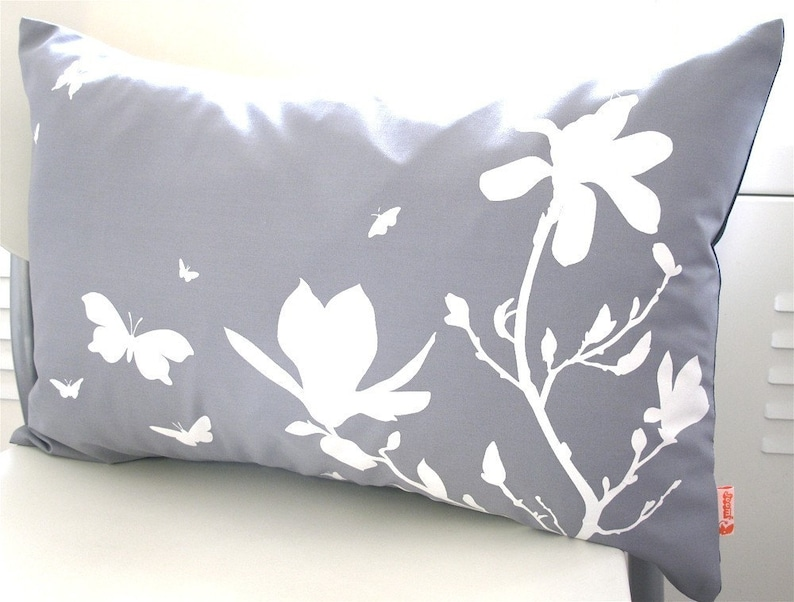Limited Time Sale Slate Magnolia and Butterfies Rectangle Pillow