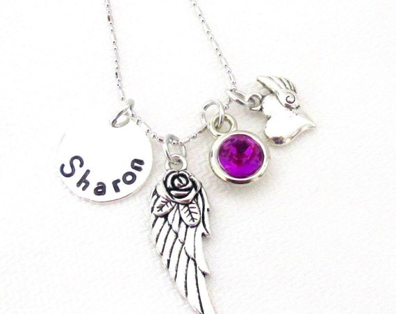 Personalized Angel Wing Necklace,Memorial Necklace,Child Loss,Baby Loss,Christmas Gifts, In memory of,Remembrance Gift, Free Shipping In USA
