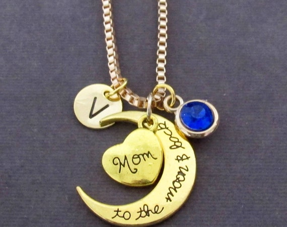 Mom Necklace,I Love You Mom Necklace,Mom I love you to the moon and back,Mother's Day Gift for Mom, Gift Idea for Mom, Free Shipping USA