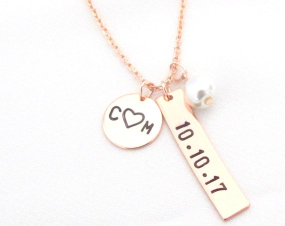 Personalized Bar Date Necklace,hand stamped disc with initials,date,Heart, Wedding,Special Date necklace,Anniversary gift, Free Shipping USA