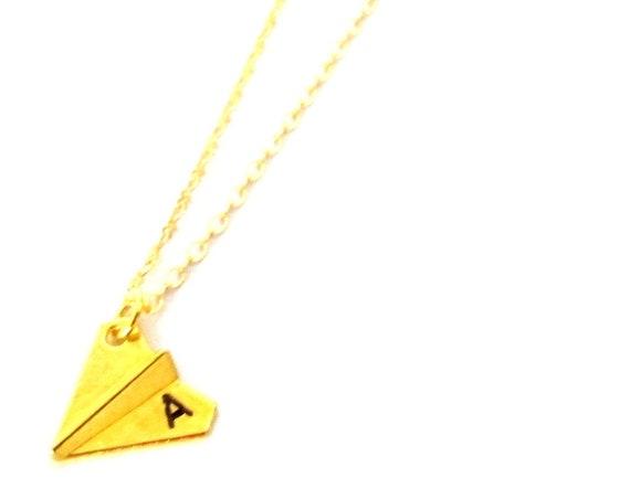 Paper Plane Necklace,Gold Paper Plane Necklace,Origami Airplane Charm Necklace,Airplane Necklace,Traveler Gift,Travel, Free Shipping In USA